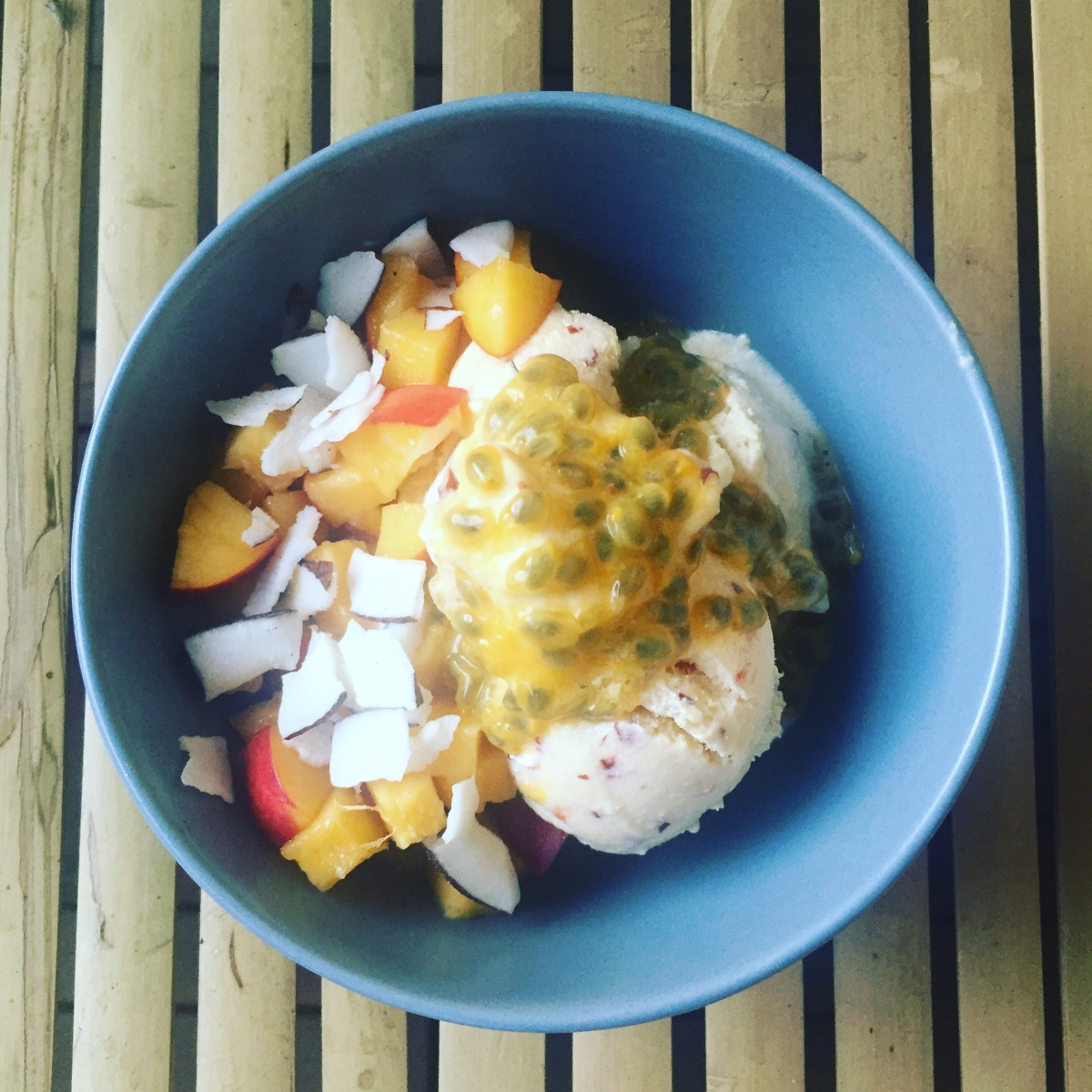 Nectarine and passion fruit icecream